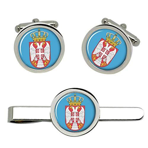 Giftshop UK Serbisch Crest Manschettenknöpfe und Krawatte Clip Set