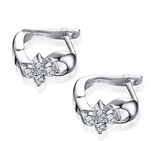 summens Clip de Pendientes para mujeres niñas con Glisten Flores de diamantes plata de ley 925pendientes de tuerca