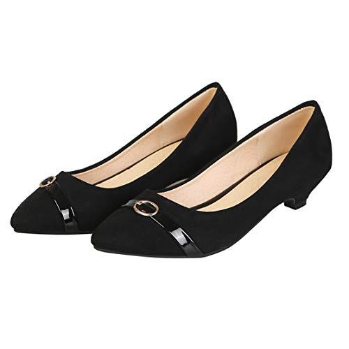 MISSUIT Damen Kitten Heels Pumps Spitz Kitten Absatz 3cm Slip on Schuhe(Schwarz,40)