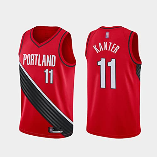 Camiseta De Baloncesto para Hombre NBA Portland Trail Blazers # 11 Enes Kanter, Camiseta De Ocio Transpirable Sin Mangas con Cuello En V para Aficionados,Rojo,M(170~175cm)