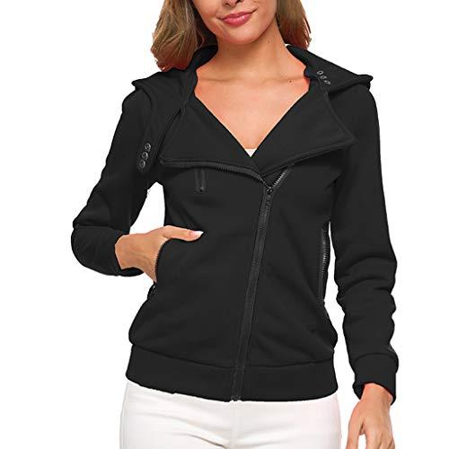 Women's Tops Thermal Long Hoodie Zip Up Jacket Hooded Warm Coat Casual Jackets Black