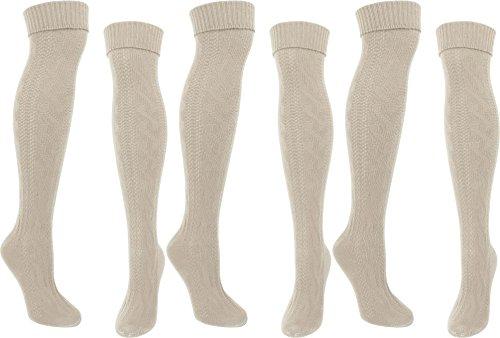 normani Stiefel Kniestrümpfe Grobstrick mit Kopfmuster und Umschlag Farbe 3 Paar Naturmelange Größe 39/42