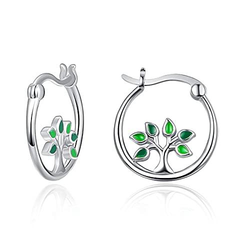Pendientes de árbol de la vida, pendientes de plata de ley 925 para mujer, pendientes de aro