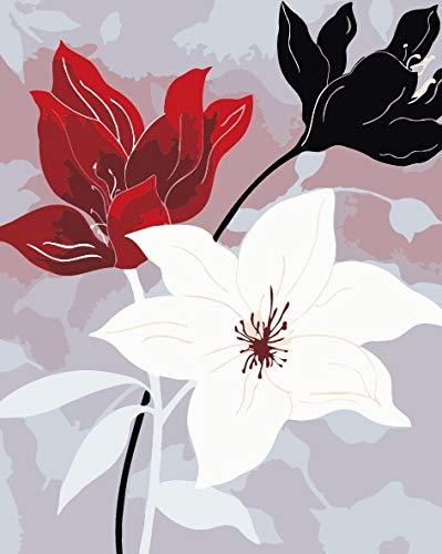 mlpnko Acryl Digitale Malerei DIY Leinwand Malerei digitaler Färbung Blume 40X50cm Rahmenlos