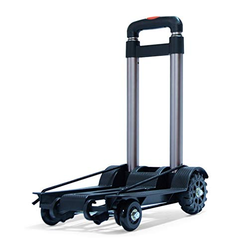 einkaufstrolley Mini-Gepäckwagen/Folding-Einkaufswagen, Aluminiumlegierung-Teleskopstange, Tankrad, 40 kg Last, für den Hausumschlag (Schwarz)