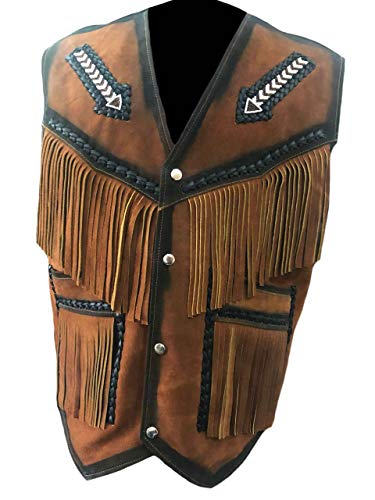 SleekHides Men's Suede Leather Western Arrow Vest with Fringes & Beads Brown Large