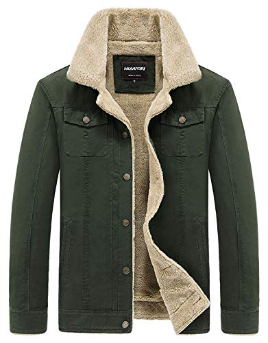 HOW'ON Men's Cotton Warm Fur Collar Casual Button Military Cargo Jacket Outwear Parka Winter Quilted Coat Army Green XL