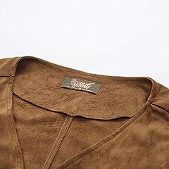 SCARLET DARKNESS Men Medieval Lace up Waistcoat Renaissance Costume Vest Tops Light Brown Size XL #3