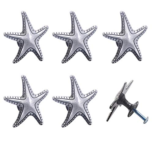 Kyien 6 Pieces Ancient Silver and Bronze Ocean Beach Theme Starfish Cabinet Knobs Single Hole Pull Handles for Drawer Cupboard Dresser Wardrobe,with Screws (Ancient Silver)