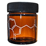 Alder House Market 1 Ounce Amber Jar Engraved with Molecular Structure of DMT