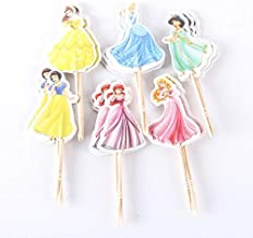 KBN 24pc Disney Princess Cupcake Toppers Cake Toppers for Girls Party Supply of Ariele,Snowwhite,Cindarela,Bell,Jasmin,Rapunzel