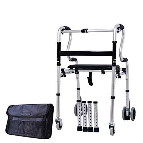 TWL LTD-Wheelchairs Silla De Ruedas, Walker Multifunktions-Gehhilfe Krücken Vier Fußhocker 60X62X (85-95) cm