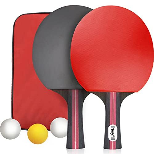 iheyfill Raquetas de Tenis de Mesa,Raquetas de Ping Pong + 3 Pelotas + Bolsa,Juego de Tenis de Mesa para el Juego de Interior al Aire Libre