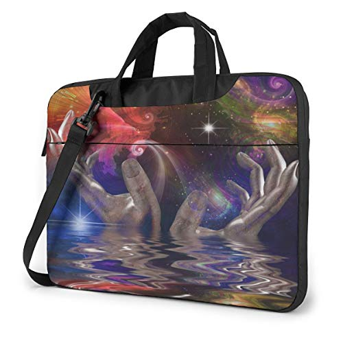 Hands, Space and Water Surprision Laptop Bag Protective Case Computer Messenger Briefcase Women Men 15.6'