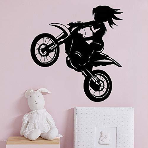 Quszpm Adhesivo de Pared Vinilo Decoración del hogar Calcomanía de Dibujos Animados Chica Bicicleta Mural 80x84 cm