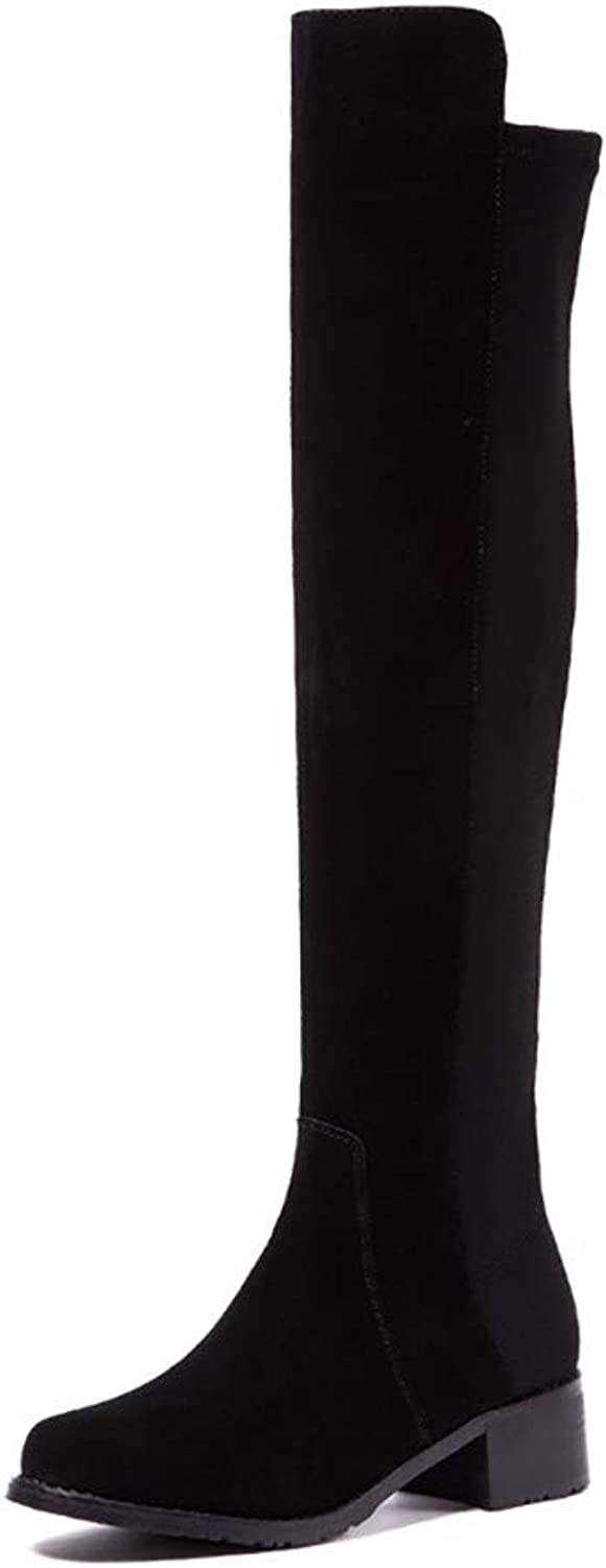 Women's Thick Heel Boots New Leather The Knee Long Boots Elastic Force High Boots Non Slip Wear- Resistant Martin Boots (color   Black, Size   38)