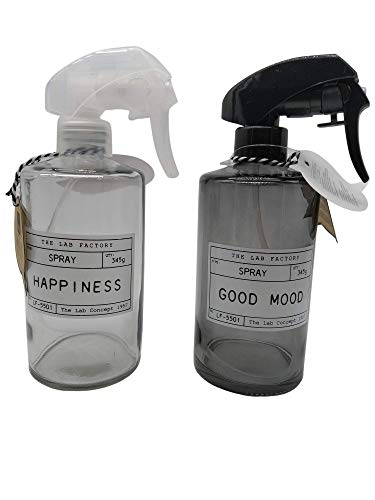 Home Deco Factory Botella Spray pulverizador, atomizador de Vidrio, vaporizador difusor rellenable Multiusos. 2 x 345 ml.