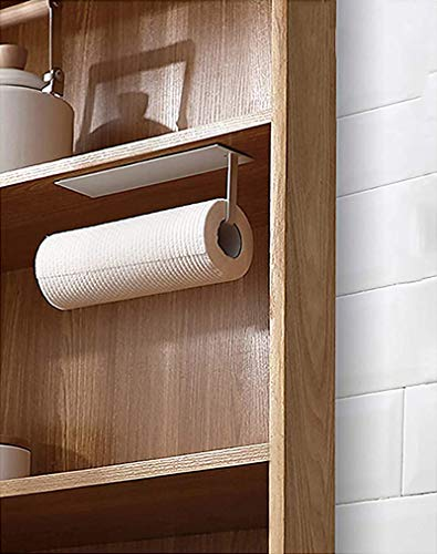 Paper Towel Holder Under Cabinet, Hanging Paper Towel Holder for Bathroom, Kitchen (No Drilling)