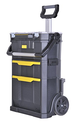Stanley Stst1-79231 Servante modulo 2 en 1 avec Boîte À Outils et Organiseur - Dimensions 57 x 39 x 76 cm - 59 Litres - Poignée Télescopique avec Revêtement Bi matière