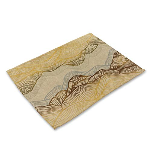 DUPECXU Durable Abstract Gradient Stripe Printing Cotton Linen Placemats Set Of 6 Heat Resistant Table Mats Machine Washable Non Slip Place Mats For restaurants and hotels (Color : F)
