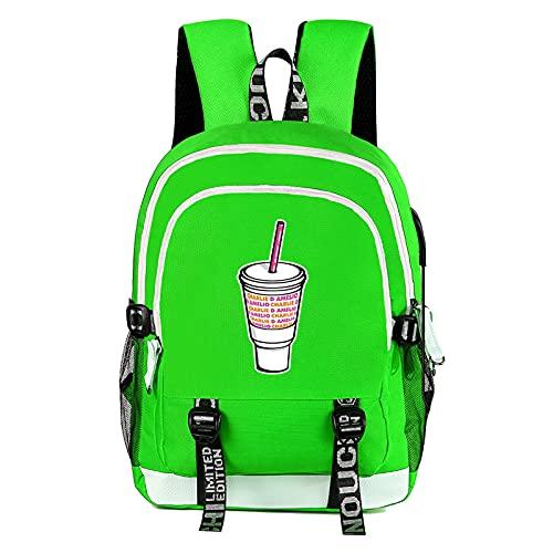 Mochila Escolar Para Niños y Adolescentes, Charli D'amelio Mochila Trend Student School Bag Laptop Hype House Mochila Bolsa de Almuerzo Al Aire Libre,3-17in