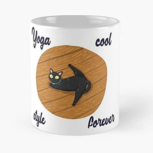 Cat Yoga Pose - Taza de café de cerámica blanca de 11 onzas
