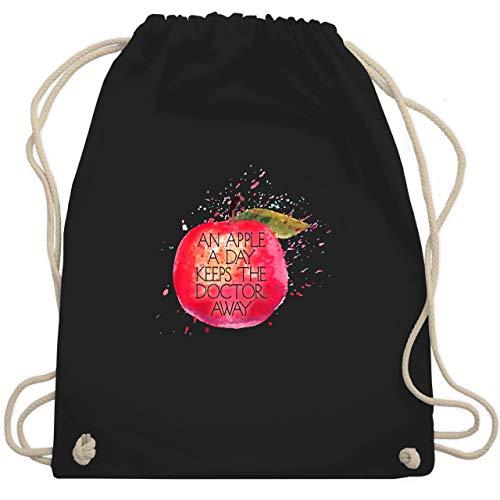 Shirtracer Statement - An apple a day keeps the doctor away - Unisize - Schwarz - Wellness - WM110 - Turnbeutel und Stoffbeutel aus Baumwolle