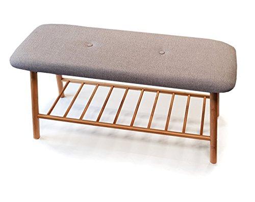 osoltus Bali Banco de bambú para cama, banco para zapatos, estante para baño, gris, 90 cm