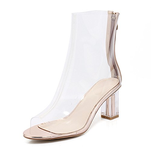 ANNIESHOE Stiefeletten Damen Kurzschaft Blockabsatz Frühling Sommer Schuhe Transparent 40CN 39EU 25cm