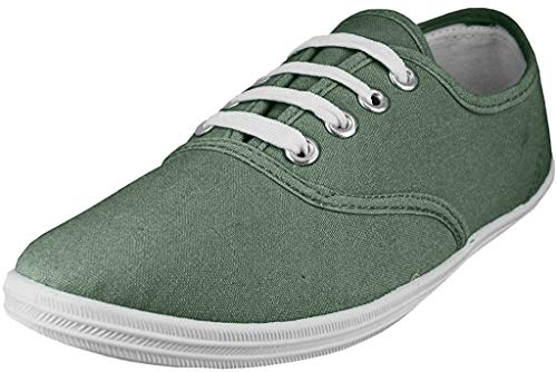 Easy USA Womens Lace Up Canvas Plimsol Sneakers Shoes (6, Grey)