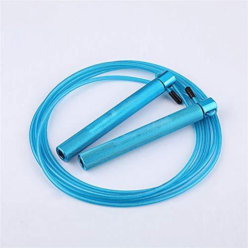 Dabeigouztiaos Cuerda Saltar, Alambre de Acero Saltando Cuerda manija de Aluminio rodamiento Saltando Cuerda Entrenamiento de Fitness (Color : Blue)