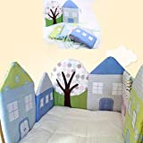 Cuna de parachoques con forma de casa para bebé, almohada con forro de algodón transpirable, almohadilla para cuna para bebés, cuna para recién nacidos, protector de seguridad para dormir, ropa cama