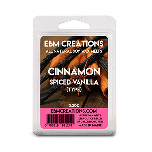Cinnamon Spiced Vanilla (Type) - Scented All Natural Soy Wax Melts - 6 Cube Clamshell 3.2oz Highly Scented!