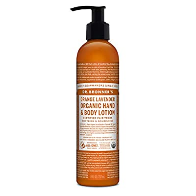 Dr. Bronner's - Organic Lotion (Orange Lavender, 8 Ounce) - Body Lotion and Moisturizer, Certified Organic, Soothing for Hands, Face and Body, Highly Emollient, Nourishes and Hydrates, Vegan, Non-GMO