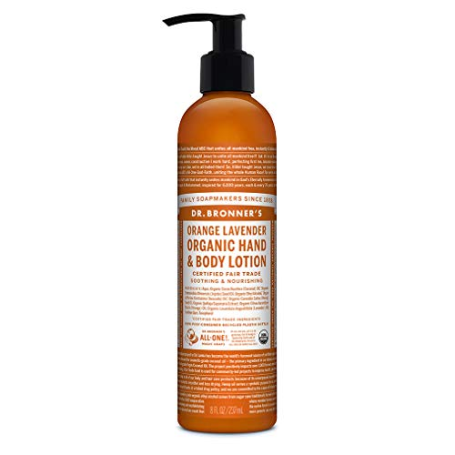 Dr. Bronner's - Organic Lotion (8 Ounce) - Body Lotion and Moisturizer, Certified Organic, Soothing for Hands, Face and Body, Highly Emollient, Nourishes and Hydrates, Vegan (Orange Lavender)