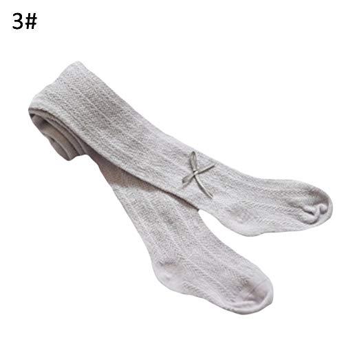 Zacht Katoen Kindersokken, Baby Meisjes Effen Kleur Hollow Out Bowknot Panty Leggings Stocking Panty - Cameo Bruin L