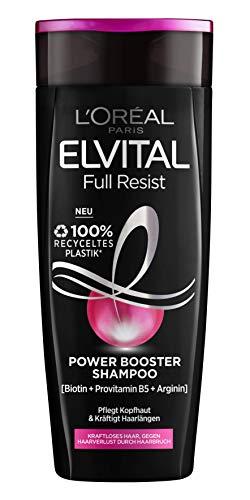 L'Oréal Paris Shampoo gegen Haarausfall durch Haarbruch, Für kraftloses, brüchiges Haar, Mit Biotin, Provitamin B5 und Arginin, Elvital Full Resist Power Booster Haarshampoo, 1 x 300 ml
