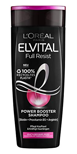 L'Oréal Paris Shampoo gegen Haarausfall durch Haarbruch, Für kraftloses, brüchiges Haar, Mit Biotin, Provitamin B5 und Arginin, Elvital Full Resist Power Booster Haarshampoo, 1 x 300 ml
