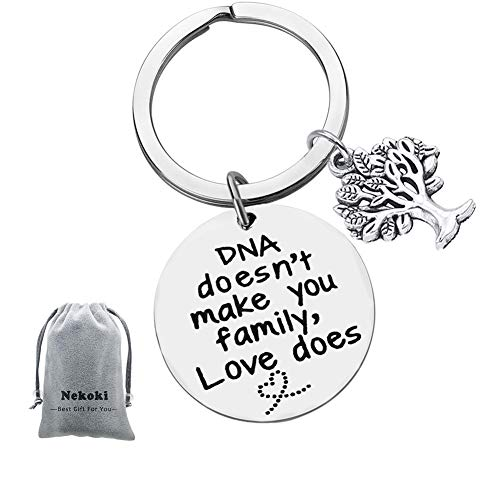 Step Parent Keychain Gifts DNA Doesn't Make You Family Love does Keychain Step Mom Gift, Step Dad Gift, Adoption Keychain
