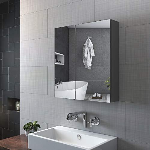 KOBEST Badezimmer Spiegelschrank, Spiegelschränke fürs Bad 60x65cm Doppeltür Bad Spiegelschrank Badschrank mit Doppelseitiger Spiegel(Grau)