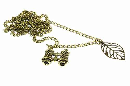 Miniblings Fernglas Kette Fernrohr Feldstecher mit Blatt Reise 60cm Bronze - Handmade Modeschmuck - Gliederkette Bronze