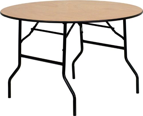 Flash Furniture 48'' Round Wood Folding Banquet Table with Clear Coated Finished Top