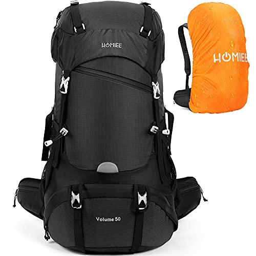 HOMIEE 50L Hiking Backpack Waterproof Travel Daypack Outdoor Sports Camping Climbing Backpack with Rain Cover for Men Women