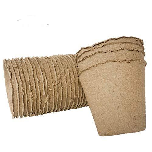 Cicony 8 cm runder Torf-Topf, Setzling-Starter-Tabletts, Keimungs-Set – biologisch abbaubare Töpfe, 100 % umweltfreundlich, verbessert die Belüftung, 100 Stück