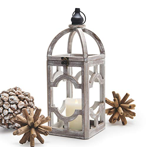 Wood-Decorative-Candle-Lantern-Rustic 15.5' Home Decor Hurricane Lamp for Indoor Outdoor Use