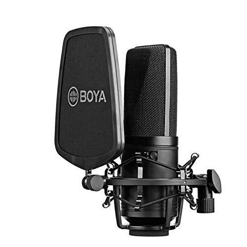 BOYA M1000 Micrófono de audio Diafragma grande Micrófono de condensador de estudio 24V 48V Alimentación fantasma y carcasa resistente para grabación vocal Cantante Podcasting Broadcasting YouTube