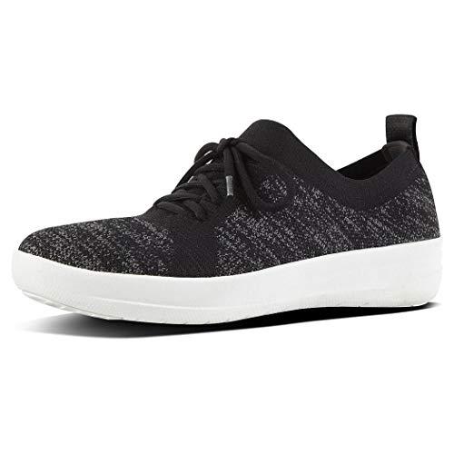 FitFlop Women's F-Sporty Uberknit Sneaker, Black, 8 M US