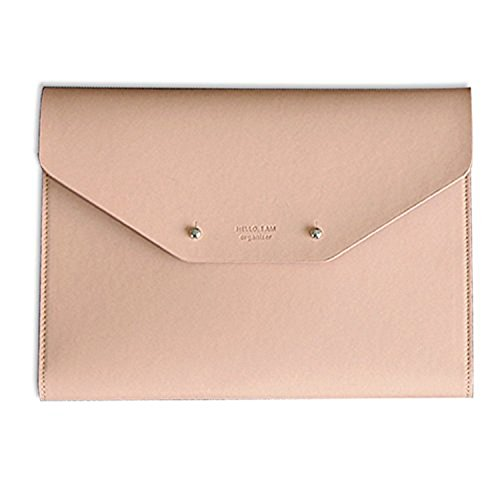 Modern Design PU Leather Padfolio, A5 Size Writing Portfolio Includes Writing Pad, Pen holder, Card & ID Slots, Extra Pockets, Carry Case Pad Holder, 7X9 (Pink)