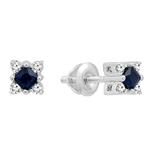 Dazzlingrock Collection 14K Princess Blue Sapphire & Round White Diamond Ladies Square Shape Stud Earrings, White Gold