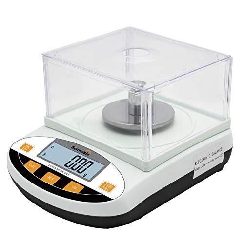 Bonvoisin Balanza de Precisión 0.01g Báscula Científica para Lab con Función de Conteo/Tara, para Uso de Lab Escuela Joyería Oro Cocina Certificado CE, con Parabrisas (500g, 0.01g)